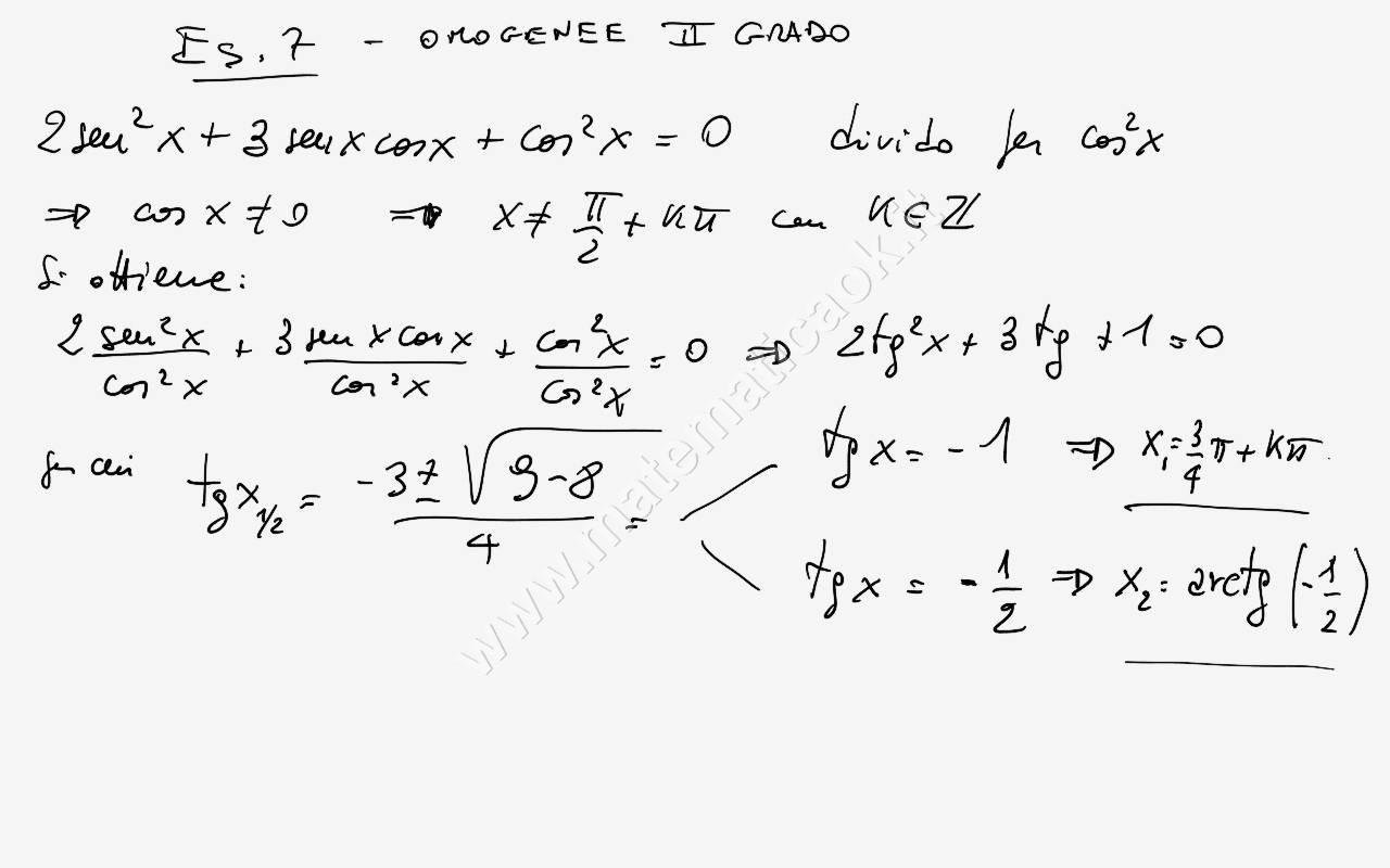 Esercizio 7 equazioni goniometriche di secondo grado - Tavola di tracciamento secondo grado ...