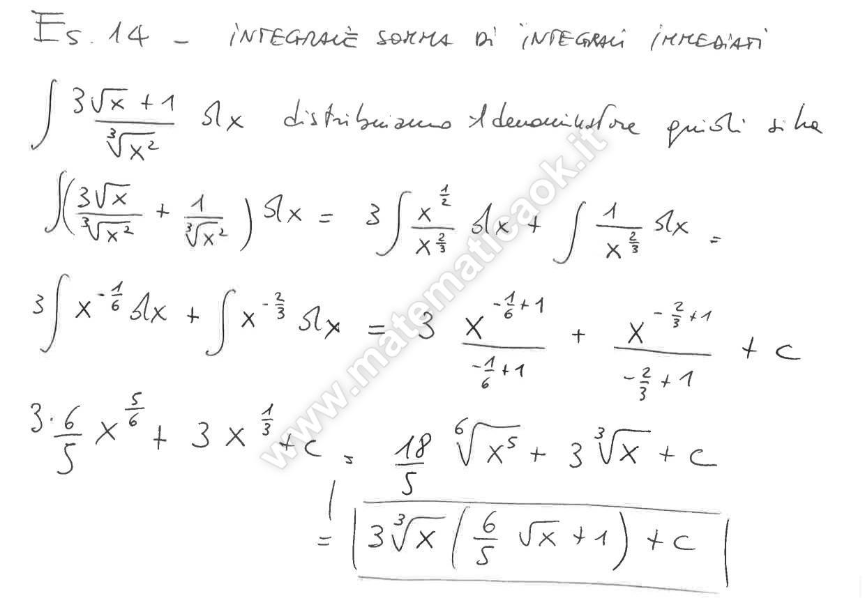 integrali matematica  Esercizio 14 – Integrali indefiniti risolti per decomposizione ...