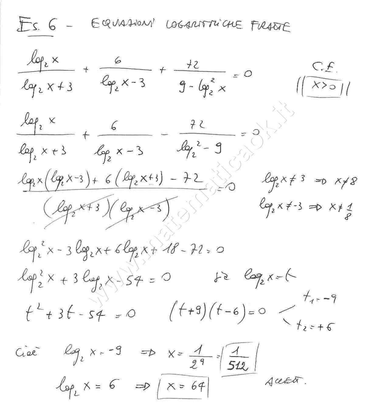Esercizio 6 equazioni logaritmiche fratte atematica k for Problemi di primo grado a due incognite esercizi