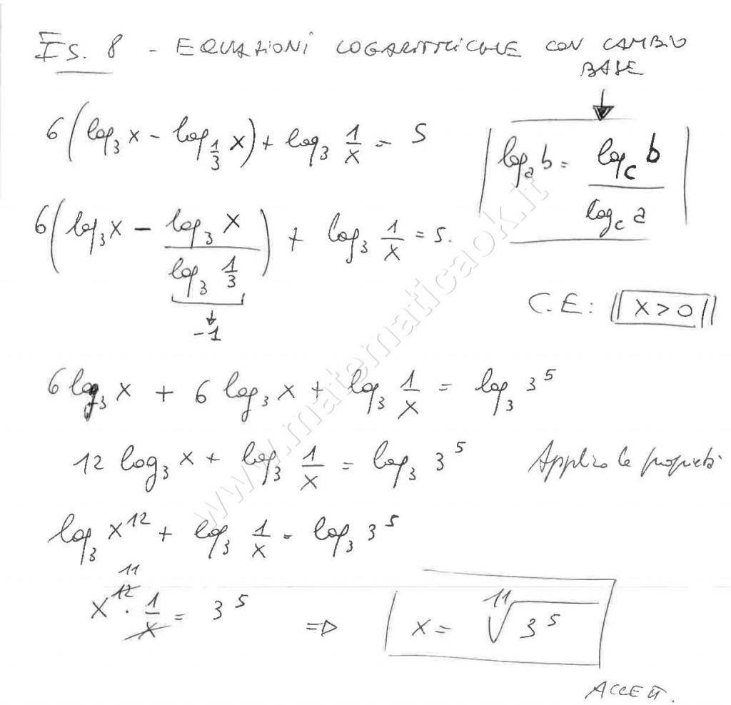 Equazioni logaritmiche con cambio di base