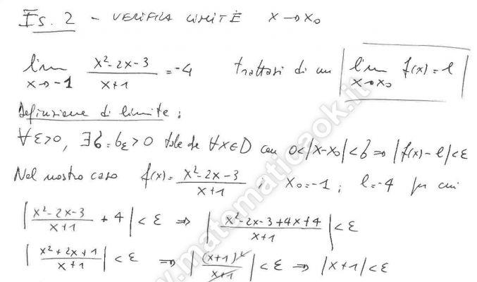 Limite Finito Per X Che Tende A Un Valore Finito.Esercizio 2 Verifica Del Limite Per X Che Tende Ad Un Valore
