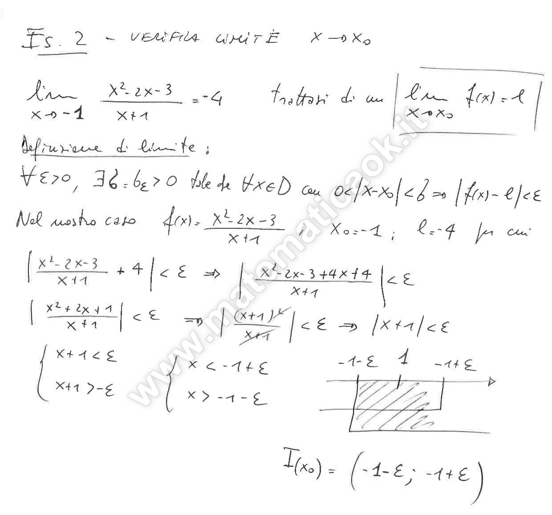 Limite Finito Per X Che Tende A Un Valore Finito.Esercizio 2 Verifica Del Limite Per X Che Tende Ad Un