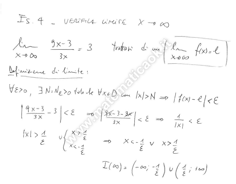 Limite Finito Per X Che Tende A Un Valore Finito.Esercizio 4 Verifica Del Limite Per X Che Tende All Infinito