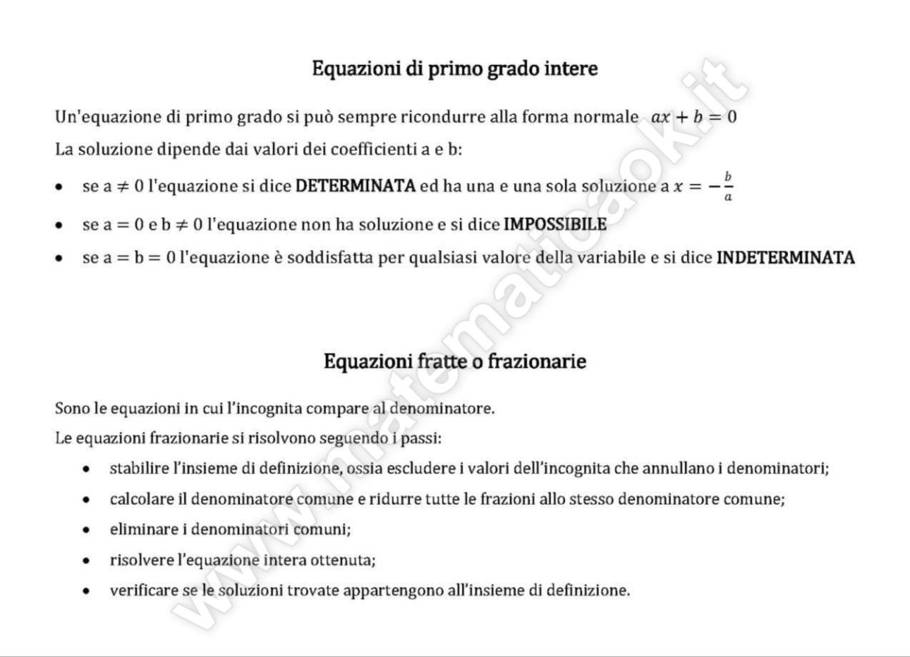 Equazioni di primo grado teoria atematica k for Problemi di primo grado a due incognite esercizi