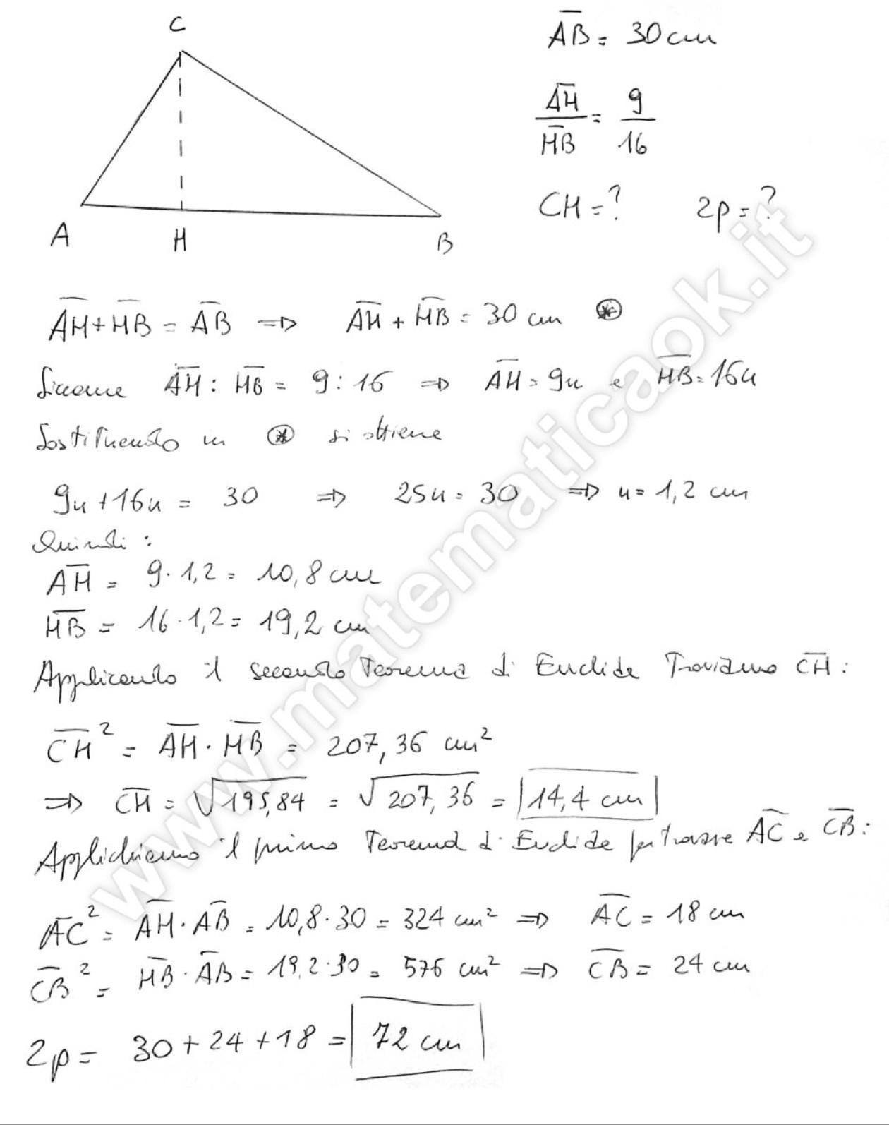 Esercizio 26 triangolo rettangolo e teoremi di euclide for Problemi di primo grado a due incognite esercizi