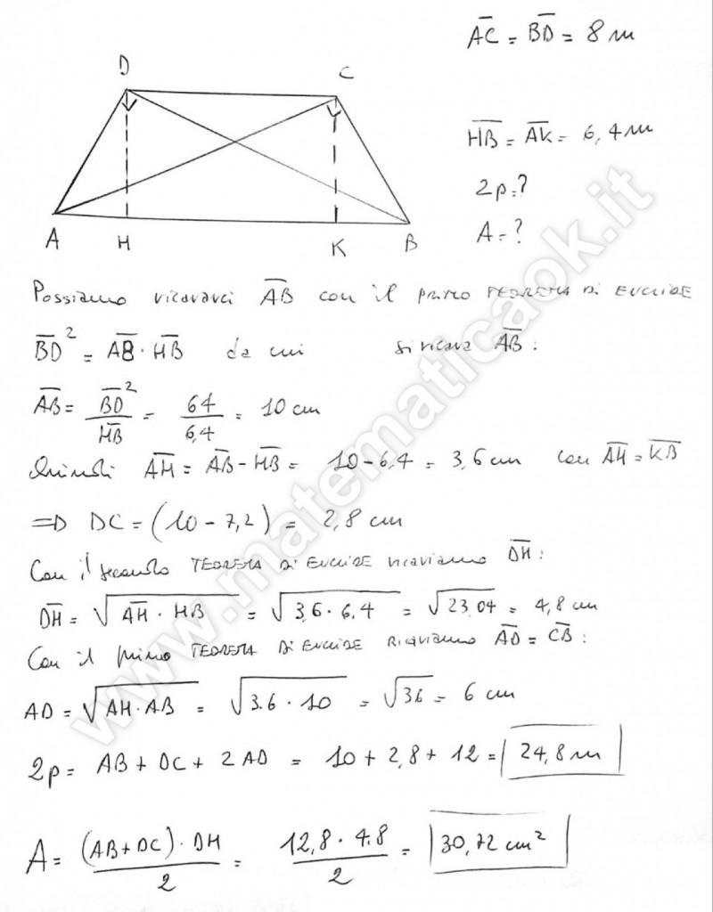 Trapezio isoscele e teoremi di Euclide