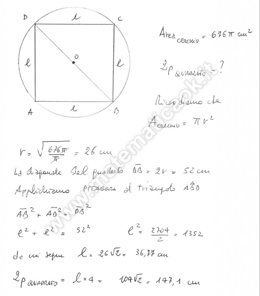 Quadrato inscritto in un cerchio
