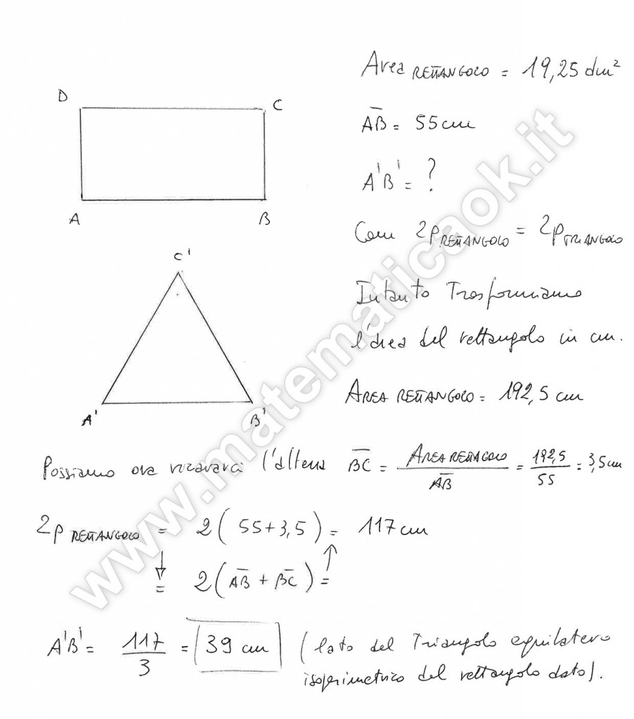 Rettangolo e triangolo isoperimetrici