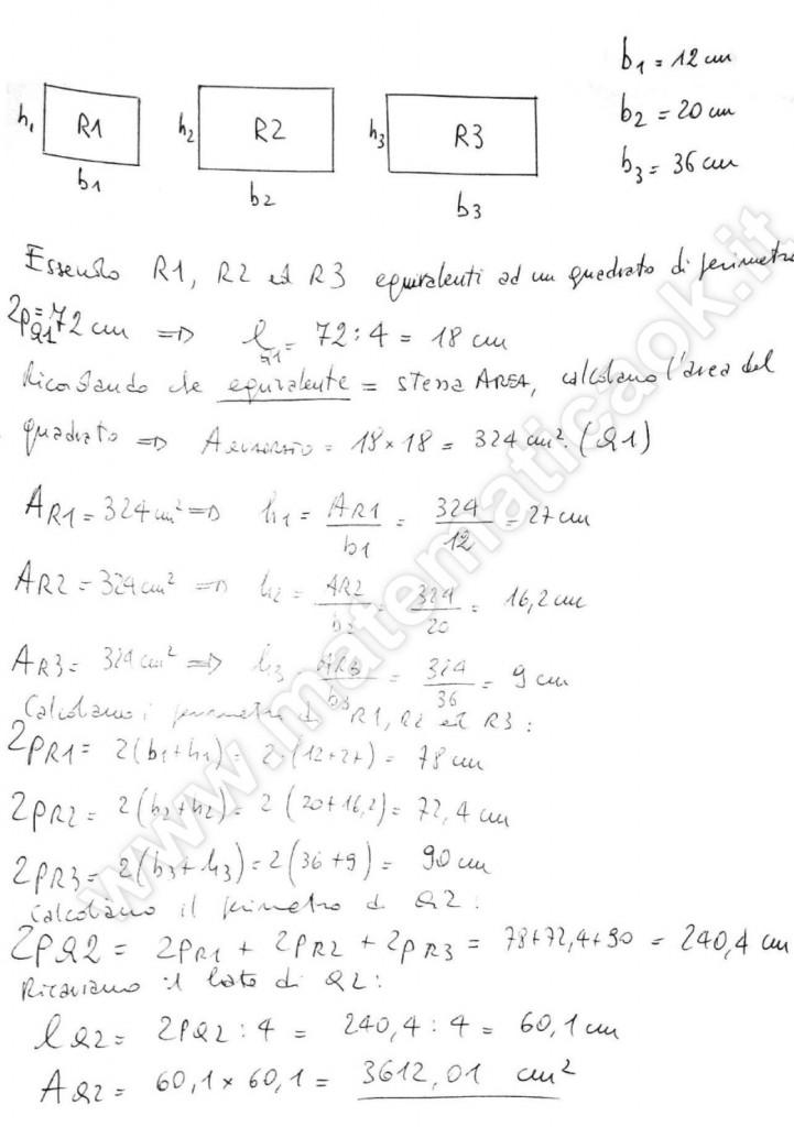 Tre rettangoli equivalenti a quadrato
