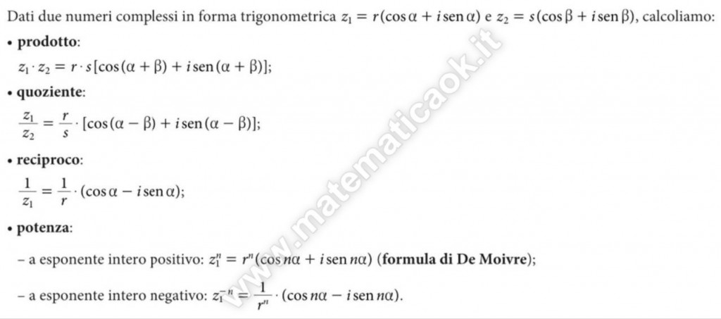 Numeri Complessi o immaginari: operazioni nella forma trigonometrica
