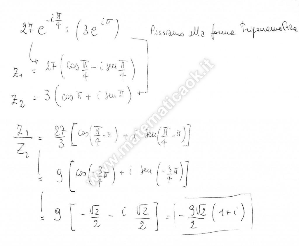 Divisione di numeri complessi in forma trigonometrica