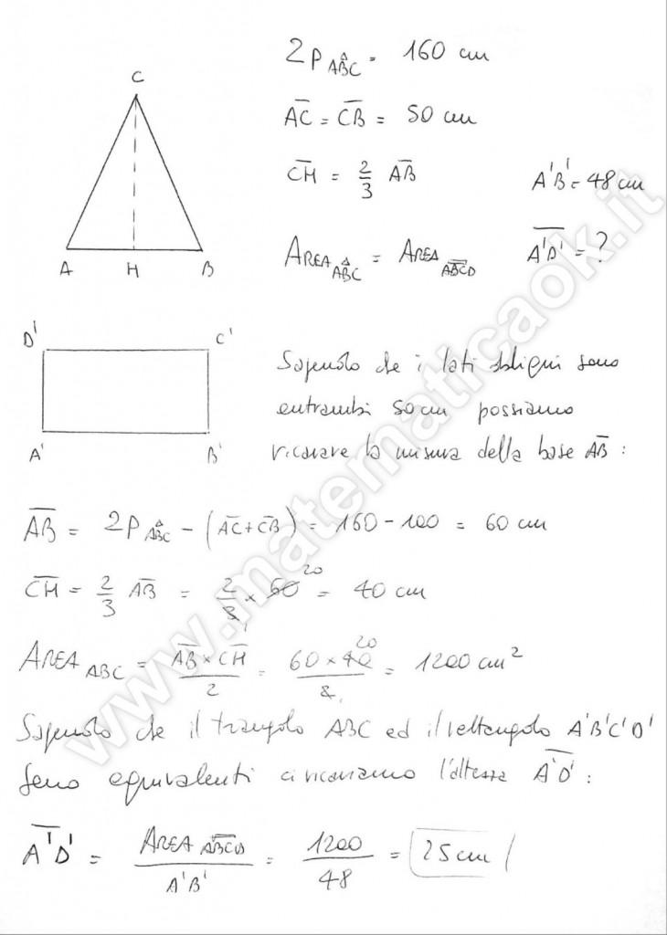Triangolo isoscele equivalente a rettangolo