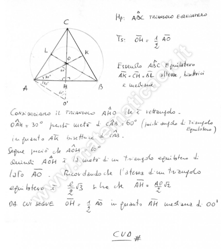 Triangolo equilatero inscritto in circonferenza