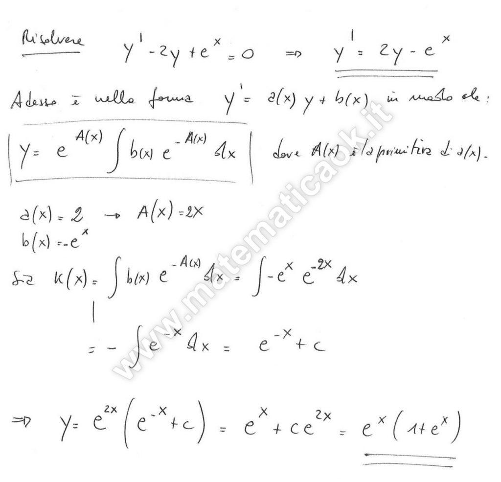 Esercizio 7 equazioni differenziali del primo ordine for Problemi di primo grado a due incognite esercizi